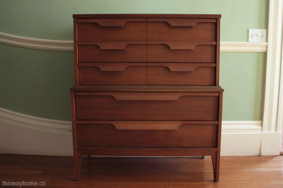 Molded Handle Mid Century Modern Dresser